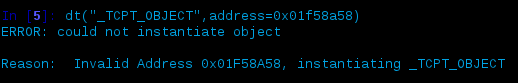Volshell physical address for connscan